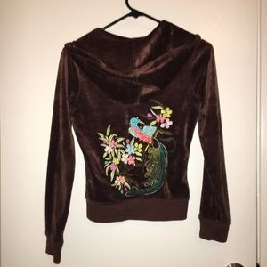 BCBG brown soft velour embroidered zip up cute